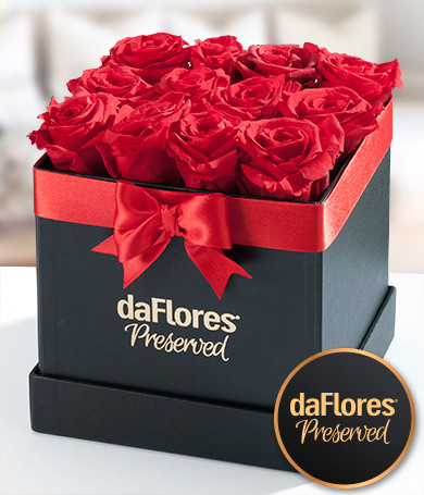 Small Square Box - Preserved Roses