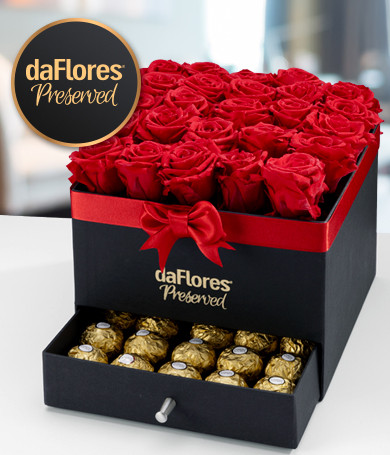 Preserved Roses and Ferreros in Jewelry Box