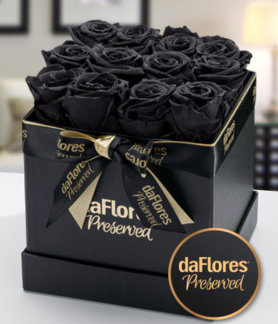 Small Square Box - Preserved Black Roses