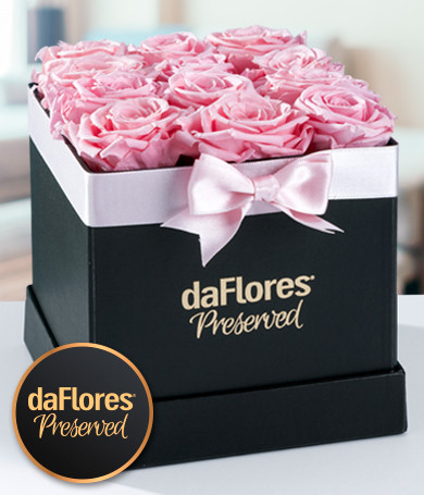 Small Square Box - Preserved Pink Roses